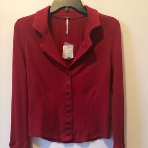 Free People Red/Rouge Button Down Shirt